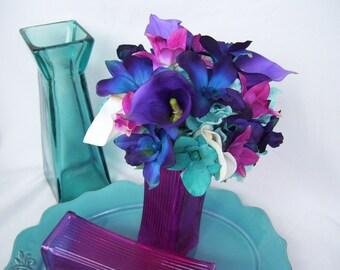 Adrienne's Bridesmaids Bouquet with Turquoise Hydrangeas,Fuchsia Orchids, Jade Turquoise CA Orchids,White Calla Lilies, Purple Calla