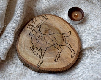 Wooden coasters, Home decor, Rustic wood deer coaster, engraved animal coasters, table drink cup coasters, housewarming gift, couples gift