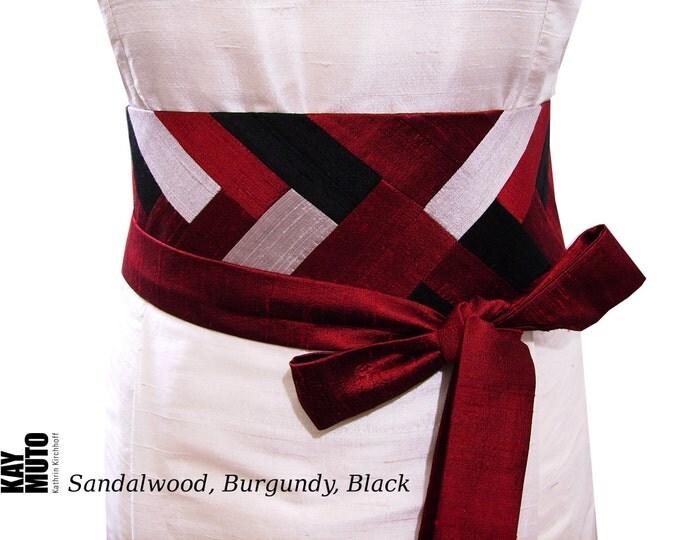 Obi belt sash INTARSIA silk shantung SANDALWOODBURGUNDYBLACK