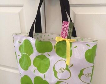 Oil Cloth Tote Bag in Green Apple Print & Polka Dot