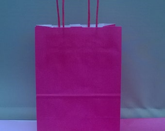 Bright Pink paper twisted handeled party bags x 10 with 20 sheets tissue paper
