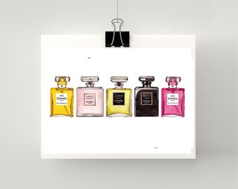 Print of COCO CHANEL perfume bottles in a row watercolour print