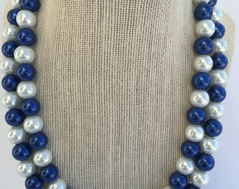 Penn State Game Day Necklace - PSU necklace - Yale Necklace - Colts Game Day Necklace -Blue and White - Dodgers Necklace - Blue Necklace -