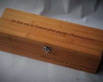 Custom engraved bamboo wine box, custom wine box, personalized wine box