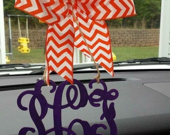 Car Rear View Mirror Monogram- UNFINISHED- DIY- Wood Monogram- bow & paint NOT included 1/8 thin birch wood- you choose initials