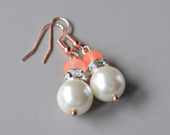 Pearl earrings pearl & rose