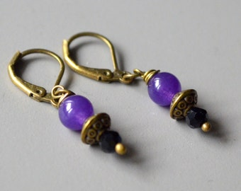 Purple stone bronze earrings