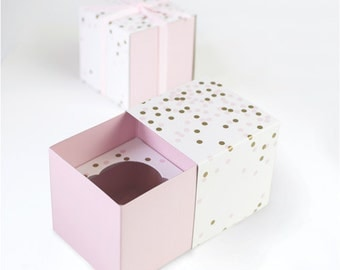 SALE -Pink & Gold Confetti Cupcake Boxes (Set of 6) - Favor Boxes