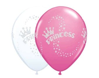 """11"""" inch GLITTERED Princess Latex Balloons, Pink and White"""