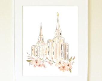 LDS Temple Watercolor (Brigham City), Brigham City Temple