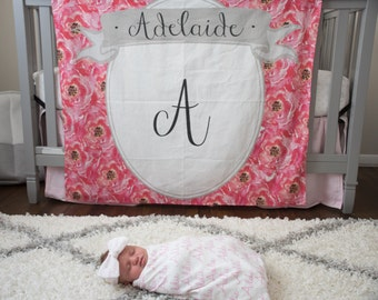 Personalized floral Backdrop Baby Announcement - first year monthly backdrop background birth announcement calendar