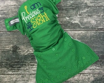 Embroidered cloth diaper / Little Beasties / one size pocket / adjustable elastic & leg gussets / I Am Precious In His Sight embroidery