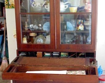 Late 1800's early 1900's Antique Break Front Secretary, Desk, Hutch, China Cabinet Furniture