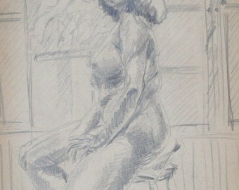 ORIGINAL PENCIL DRAWING- Vintage Female Model Study