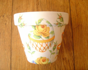 OOAK Hand Painted and Decoupaged Decorative Flower Pots/Planters, Easter Egg (Yellow),11cm  size pots,Easter Gifts, Spring, Flowers.