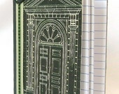 Architectural mini notebook, Ornate doorway image, Schematic detail, Small journal, Little note book,  Black, Beige drawing, Green accents