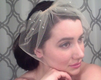 MARIE SMALL w/ Rhinestone Cluster Top - birdcage veil, birdcage, blusher veil, small blusher, tulle bridal birdcage veil, small birdcage