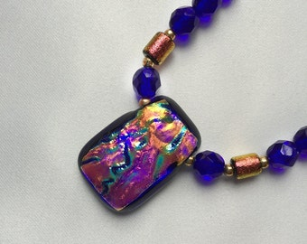 Glowing Embers and Cobalt Blue Dichroic Necklace