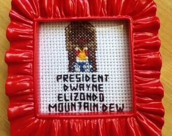 Idiocracy President Cross Stitch Portrait
