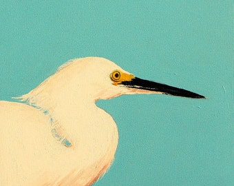 Snowy Egret original painting Florida birds acrylic painting waterbird paintings turquoise and white