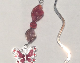 Red Butterfly Charm Bookmark Lampwork Beads