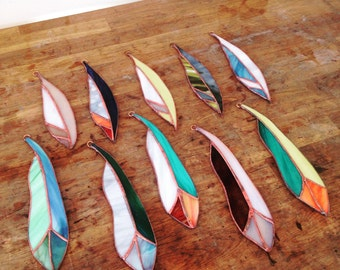 Custom Stained Glass Feathers, Glass Feathers, Made to Order, Stained Glass, Art, Glass Art,