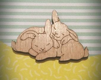 Sleeping cuddling bunny rabbit lasercut wood brooch