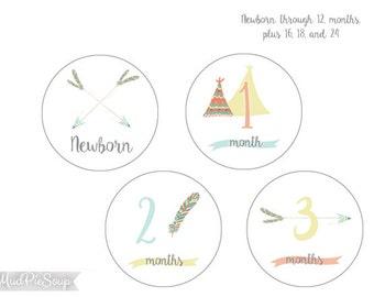 Printable Baby Milestone Cards Stickers - Tribal Boho Shower Photo / Baby Book Milestones - Instant Download