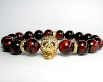 Mens Red Tiger Eye Skull Bracelet, Beaded Bracelet, Boyfriend Gift, Mens Bracelet, Gemstone Bracelet, Stretch Bracelet, Red Bracelet
