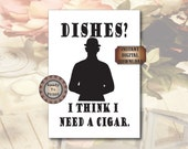 Dishes Sign Black White Dishes Cigar Bowler Hat Printable 8X10 Digital Kitchen Dining Decor Steampunk Victorian Wall Art Tea Towel Supply