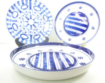 Set Of Blue And White Plates Blue Platters Dansk Plate Danish Modern Decor