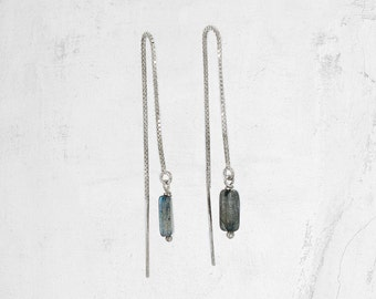 Silver Threader Earring   Gemstone Threader Earring   SAHARA Threader