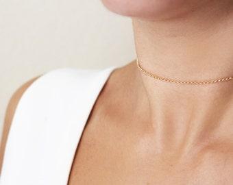 Gold Choker / Gold Chain Choker / Dainty Choker / Delicate Gold Choker / Minimalist Necklace / Layering Necklace / Minimal Choker