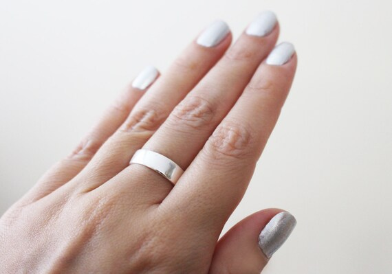 Thick Silver Ring Simple Wedding Band