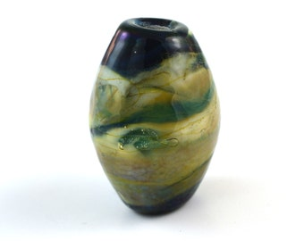 Silver Green Hand Made Glass Lampwork Bead