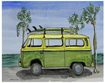 Surf Art...Surfing Print...VW Surf Van at the Beach...Surf Art