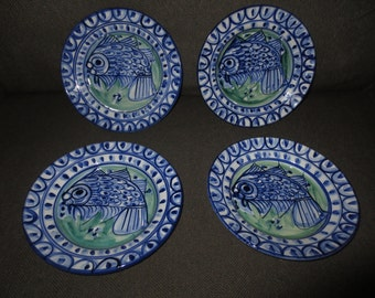 Vintage Hand Painted Porche Algarve Set of 4 Bowls , Serving Bowls , Signed 1994