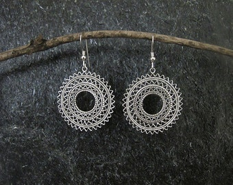 Jewelry, Filigree Silver earrings , Filigree earrings,Silver earrings,Yemenite earrings,Israel jewelry,Round earrings