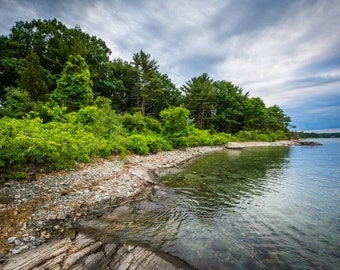 Rocky coast at Odiorne Point State Park, in Rye, New Hampshire.   Photo Print, Stretched Canvas, or Metal Print.