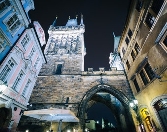 The West Tower of Charles Bridge at night, in Prague, Czech Republic - Photography Fine Art Print or Wrapped Canvas