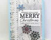 Merry Christmas Card - Wishing You a Merry Christmas - Christmas Card - Happy New Year - Blue Christmas - Blank Christmas Card - Snowflakes