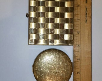 Three vintage metal containers. Trinket box. Gold compact and a small pill box.