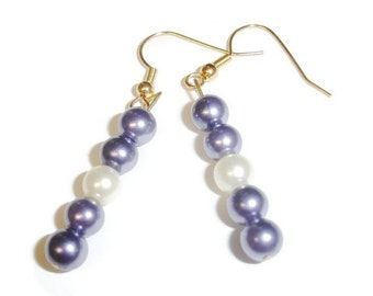 40% OFF SALE Blue and Cream Pearl earrings