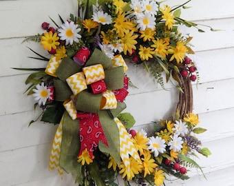 "Silk Front Door Wreath,""Summertime"" Daisy Wreath,Country Cottage, Flower Wreath, Summer Wreath, Year Round Door Wreath, Extra Full,Bow"