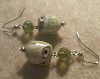 Lime Green Owl Earrings No. 289