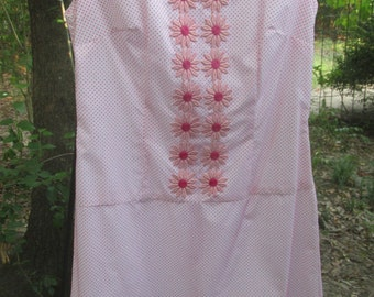 60's summer shift dress with applique flowers Medium size