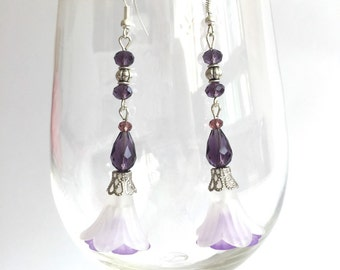White and purple lucite flower earrings, bridesmaid earrings
