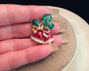 Vintage Enameled Leaf Bow Rhinestone Bell Christmas Pin