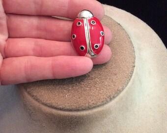 Vintage Red & Black Enameled Lady Bug Pin/Pendant