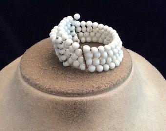 Vintage Wide Milk Glass Beaded Bracelet